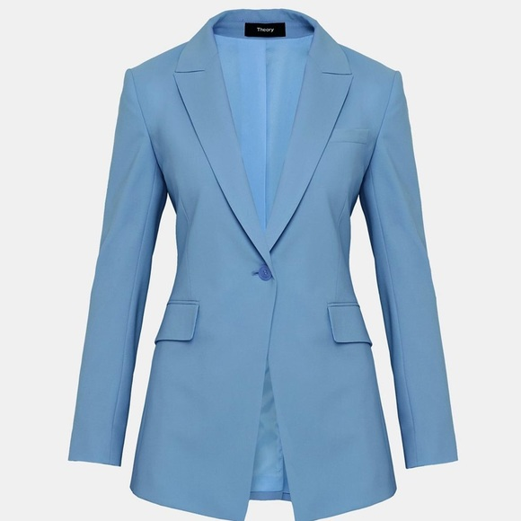 5a34cc9843 Theory Jackets & Coats | Nwt Etiennette B Good Wool Long Blazer Blue ...